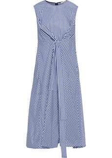Adeam Woman Tie-front Gingham Shell Dress Navy