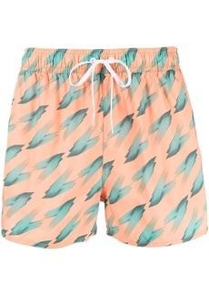 Adidas abstract-print swim shorts