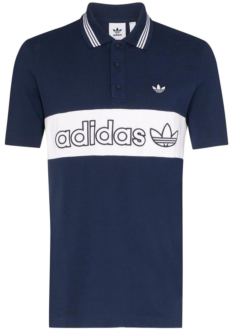 Adidas stripe detail polo shirt