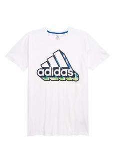 adidas 3D Graffiti Logo Graphic Tee (Big Boy)