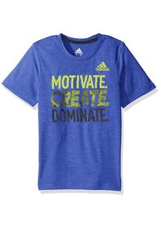 Adidas Boys' Big Short Sleeve Graphic Tee Shirts Hi-Res Blue Adi