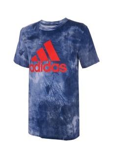 adidas Big Boys Short Sleeve Tie Dye Badge of Sport Tee