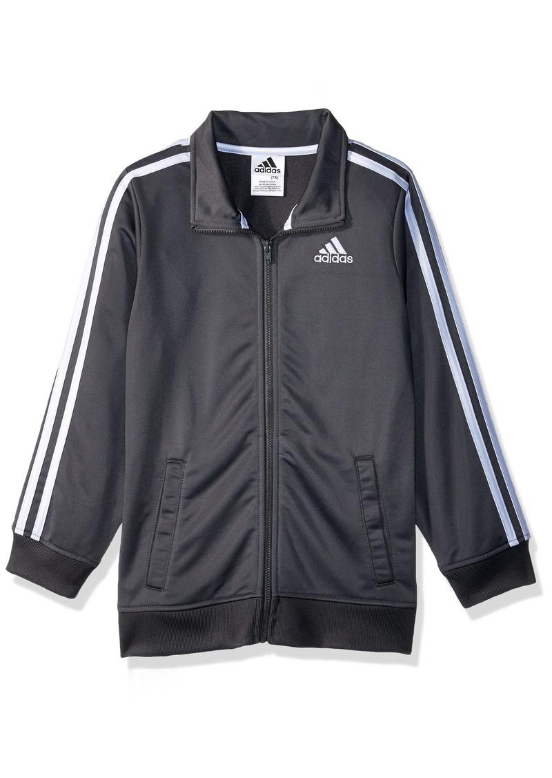 adidas Boys' Little Iconic Tricot Jacket Dark Grey