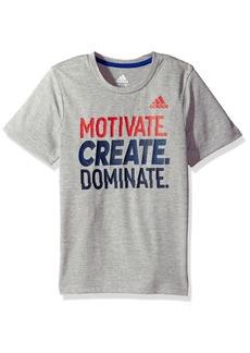 Adidas Boys' Little Short Sleeve Graphic Tee Shirts Grey Heather