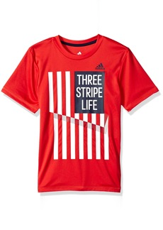 Adidas Boys' Toddler Short Sleeve Graphic Tee Shirts Red/White