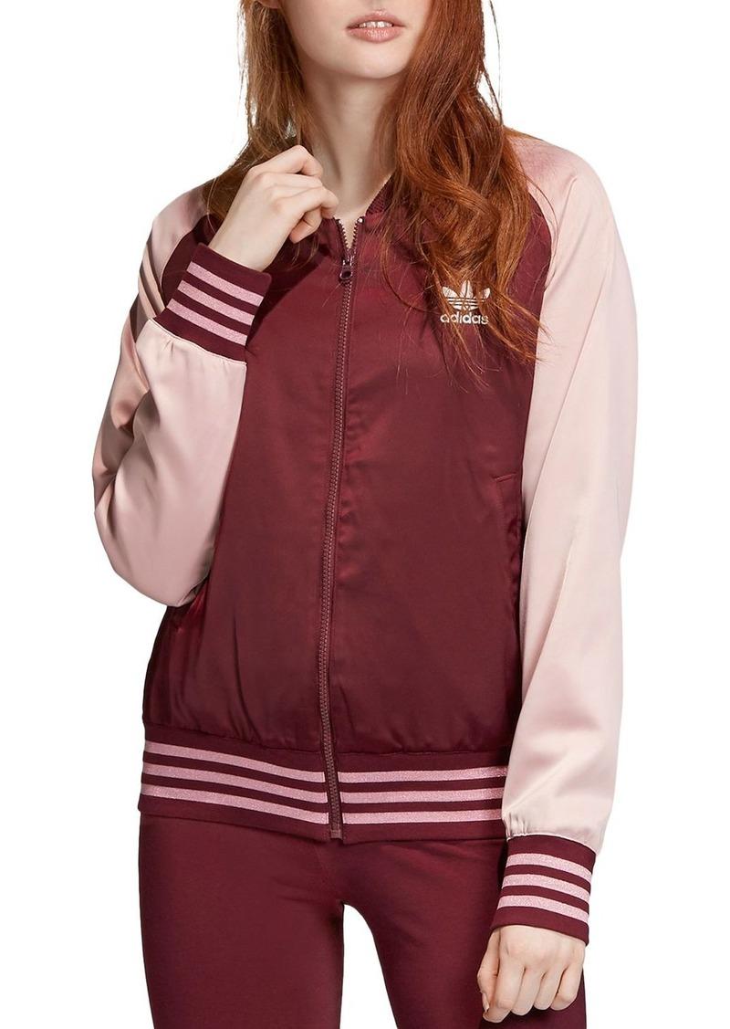 Adidas Color-Block Satin Bomber Jacket
