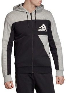 Adidas Colorblock Cotton-Blend Fleece Hoodie