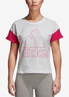 adidas Cotton Colorblocked Logo Cropped T-Shirt