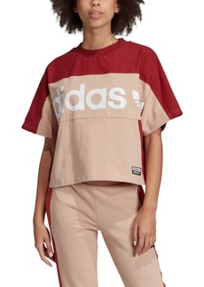 adidas Women's Cotton Logo Colorblocked Relaxed T-Shirt