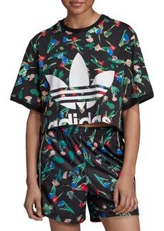 Adidas Cropped Floral Logo Tee