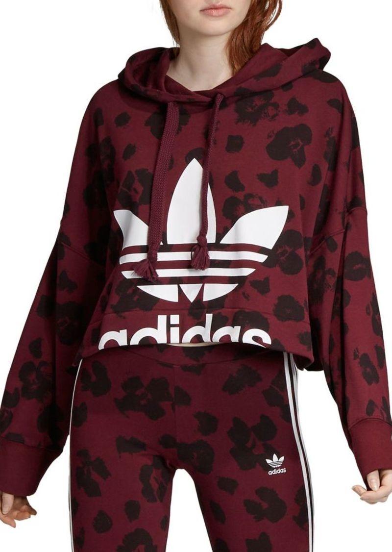 Adidas Cropped Leopard-Print Drawstring Hoodie