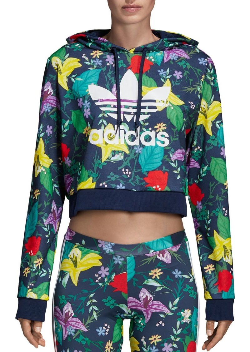 Adidas Floral Cropped Hooded Sweatshirt