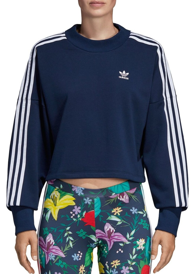 Adidas Floral Triple Stripe Cropped Sweatshirt