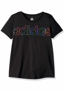 adidas Girls' Big Scoop Neck Tee Black YTH XL