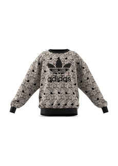 Adidas Girls' Classic Zebra-Print Velour Sweatshirt - Big Kid