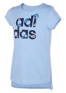 Adidas Girl's Curved Hem Cotton Blend Tee