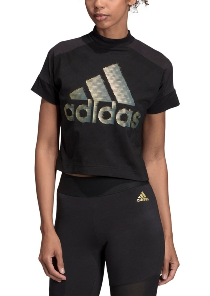 adidas Women's Glam-Logo Cropped T-Shirt
