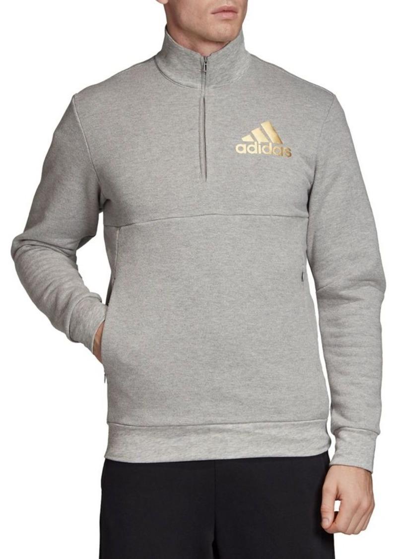 Adidas Half-Zip Cotton-Blend Sweatshirt