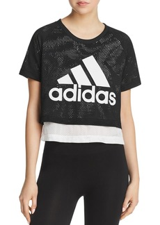 Adidas ID Layered-Look Mesh Cropped Top