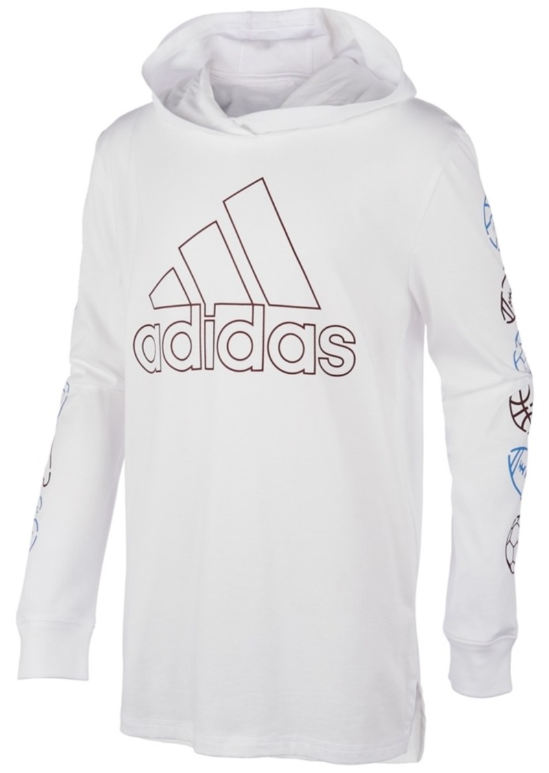 adidas Little Boys Cotton Hooded Sports Balls T-Shirt