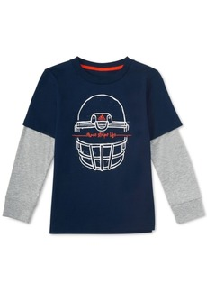 adidas Little Boys Layered-Look Helmet-Print Cotton T-Shirt