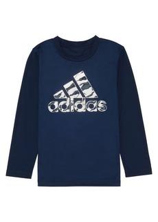 Adidas Little Boy's Long-Sleeve Climalite Camo Logo Graphic Tee
