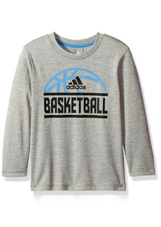 adidas Boys' Little LS Sport Split TEE Grey