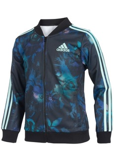 adidas Little Girls Floral Glow-Print Tricot Jacket