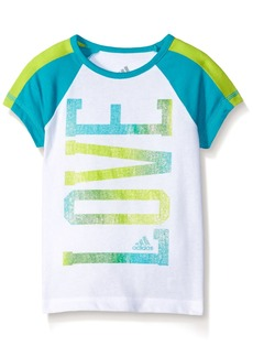 adidas Little Girls' Short Sleeve Raglan Tee