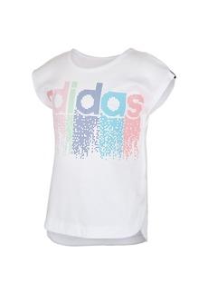 adidas Little Girls Short Sleeve Slit Tee
