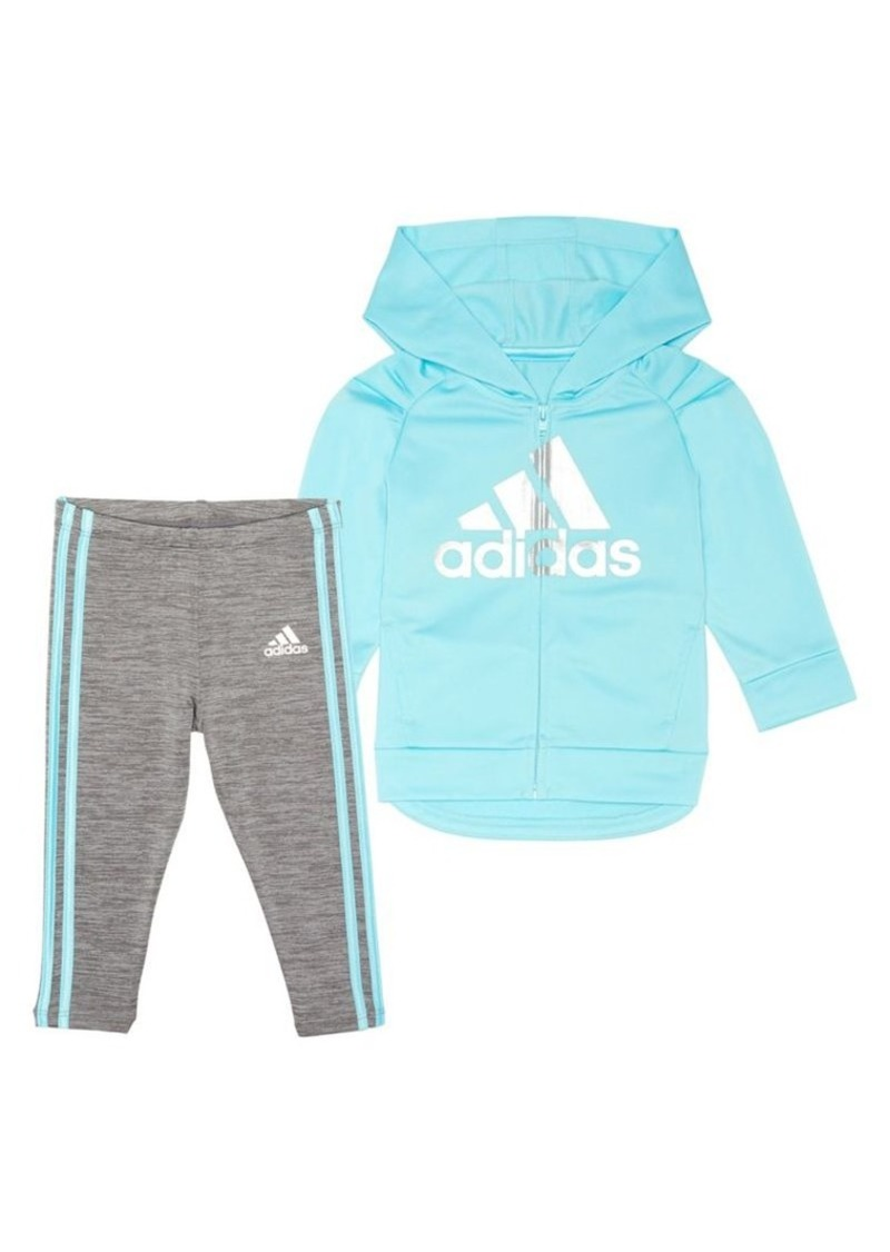 Adidas Little Girl's Two-Piece Tricot Hooded Jacket & Tights Set
