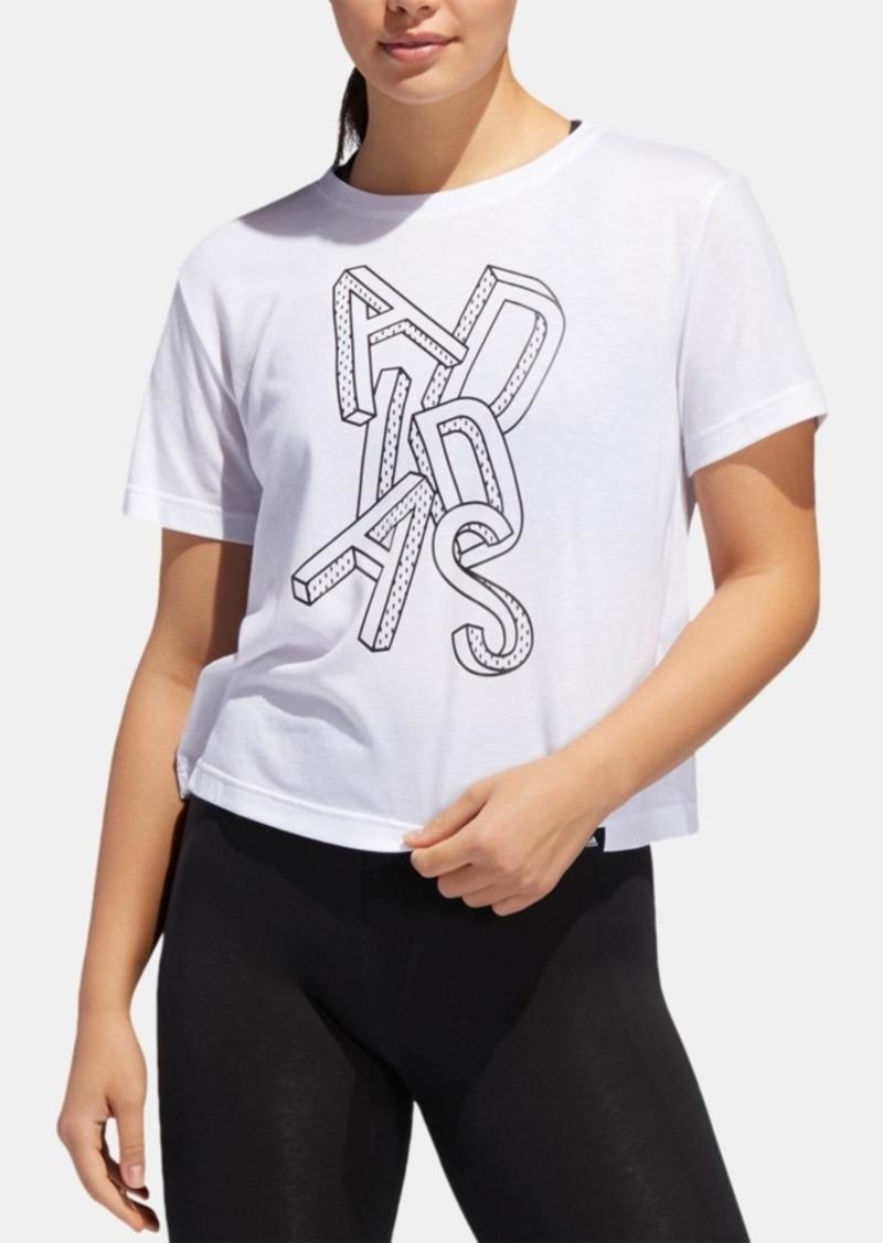 adidas Logo-Graphic ClimaLite Cropped T-Shirt