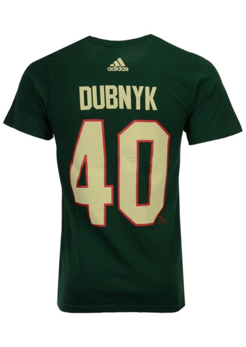 adidas Men's Devan Dubnyk Minnesota Wild Silver Player T-Shirt