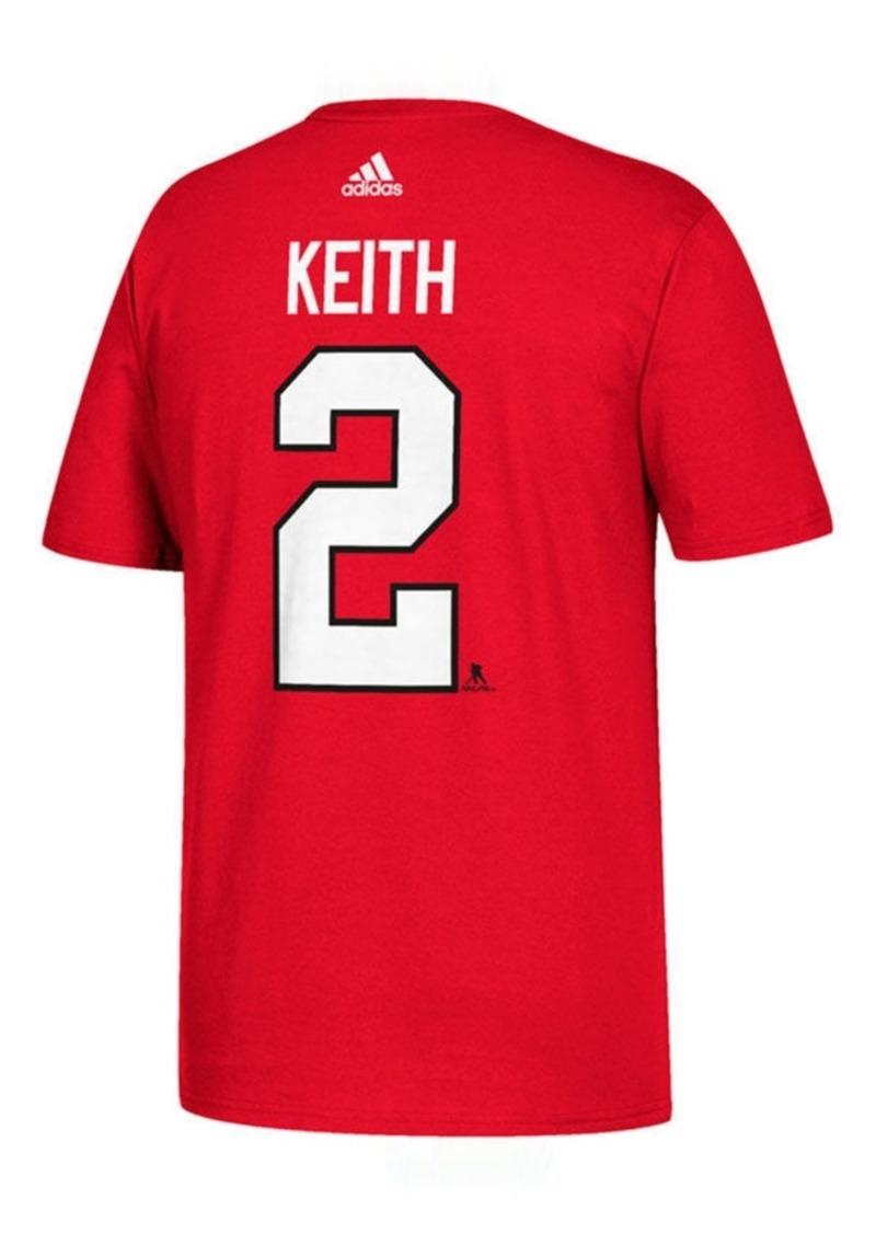 adidas Men's Duncan Keith Chicago Blackhawks Silver Player T-Shirt