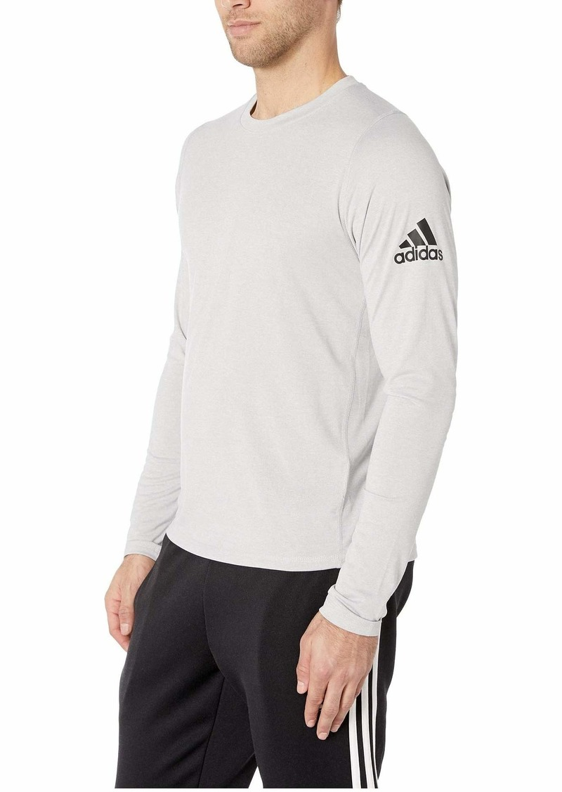 adidas Men's Freelift Heather Badge of Sport Long Sleeve Tee  M