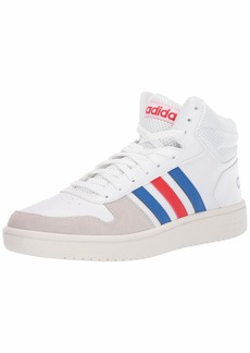 adidas Men's Hoops 2.0 MID Track Shoe FTWR White/Blue/Active Red  Standard US Width US