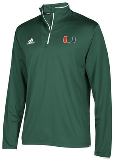 adidas Men's Miami Hurricanes Team Iconic Quarter-Zip Pullover