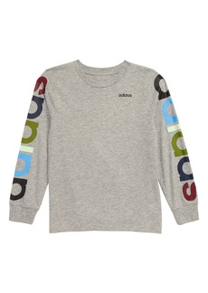 adidas Multi Colored Logo Long Sleeve T-Shirt (Little Boys)