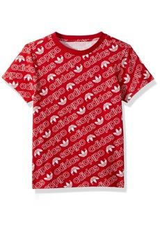adidas Originals Boys' Big Trefoil Monogramed Tee Collegiate red/White XL
