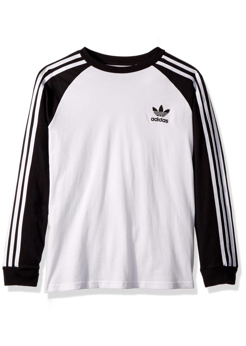 adidas Originals Boys' Little Long Sleeve California Tee Black/White S