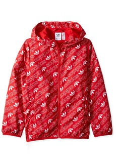 adidas Originals Boys' Little Trefoil Monogram Windbreaker Collegiate red/White S