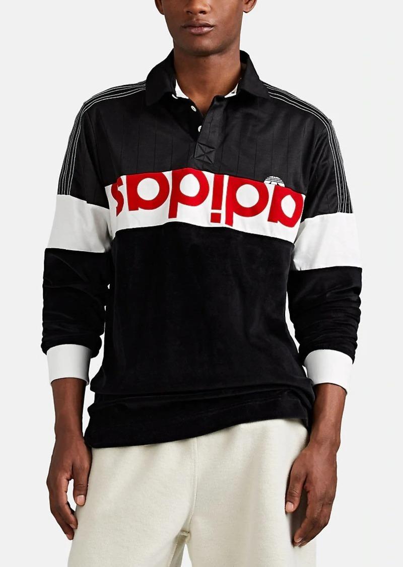 adidas Originals by Alexander Wang Men's Logo Velour & Jersey Rugby Shirt