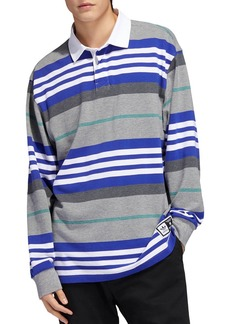 adidas Originals Cleland Striped Long-Sleeve Regular Fit Polo Shirt