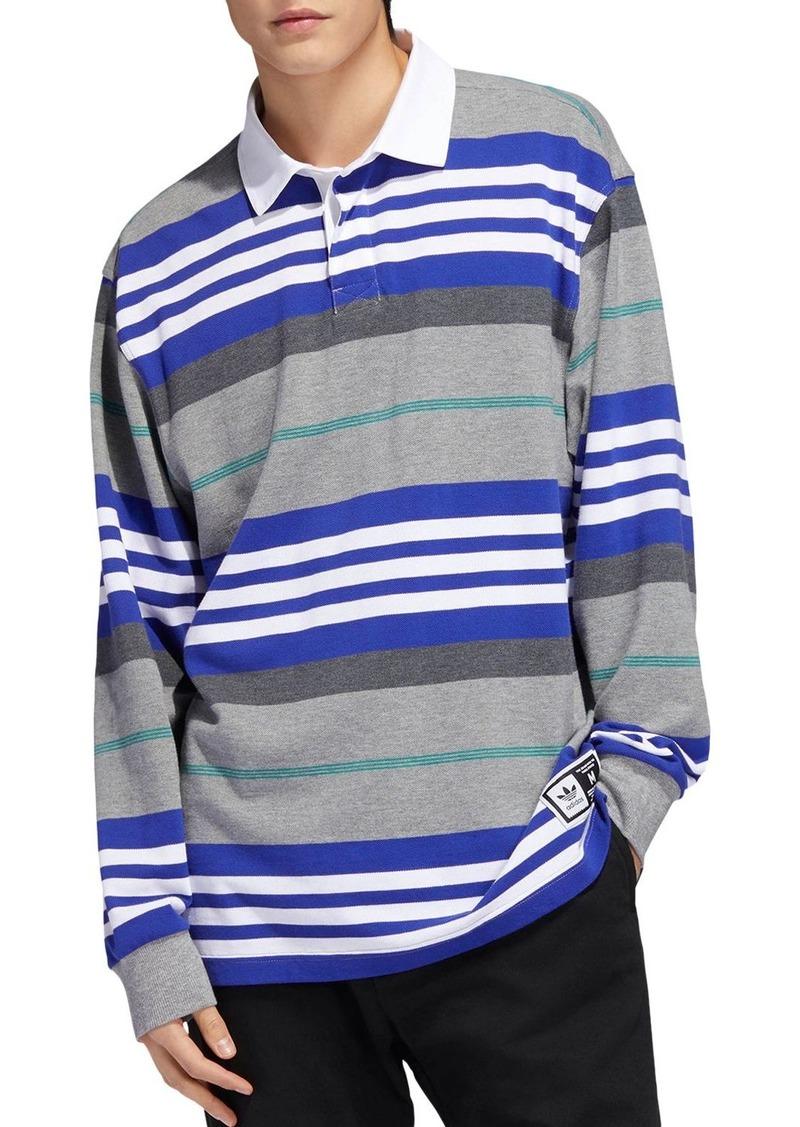 adidas Originals Cleland Striped Long-Sleeve Regular Fit Polo Shirt