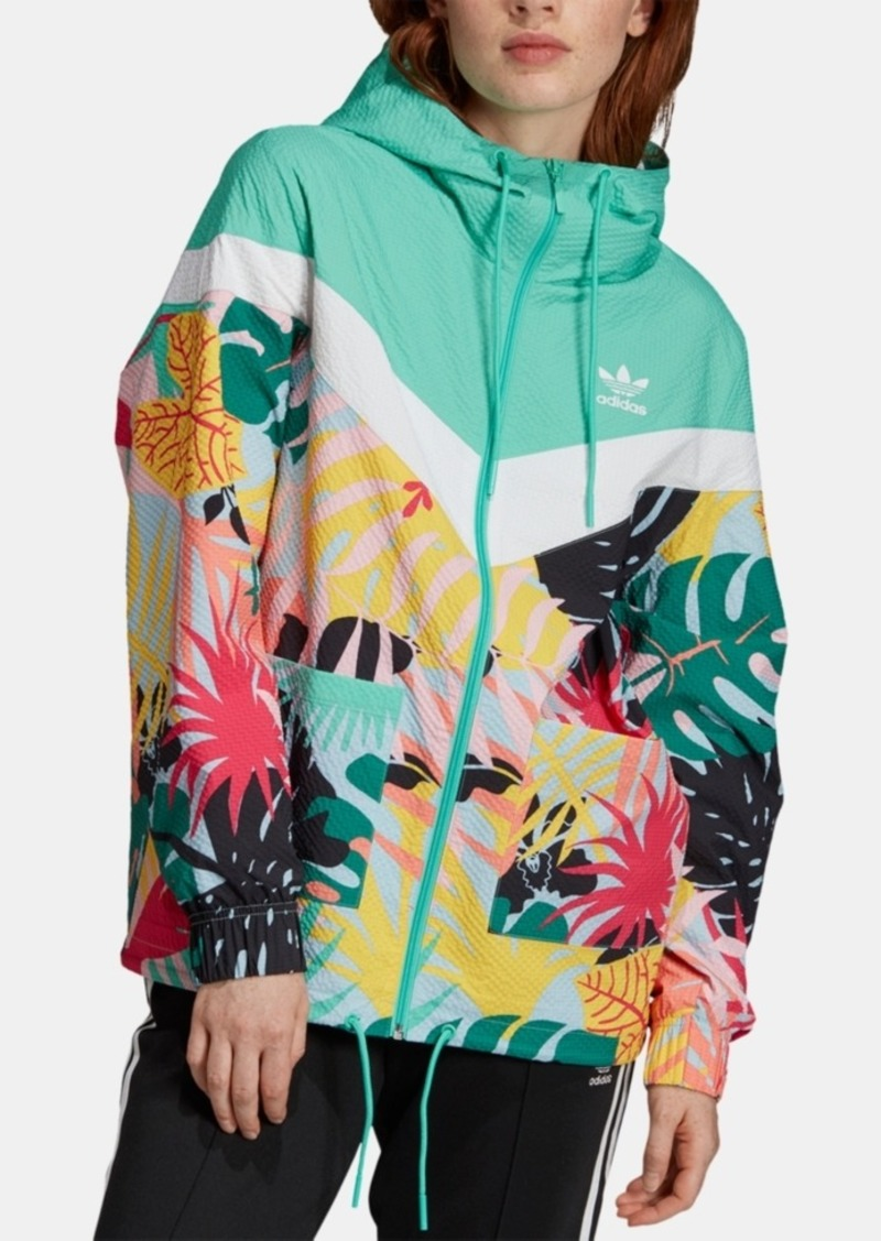 adidas Originals Colorblocked Printed Hooded Windbreaker