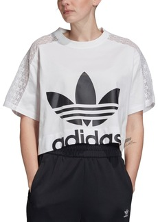 adidas Originals Women's Cotton Lace-Trimmed Cropped T-Shirt