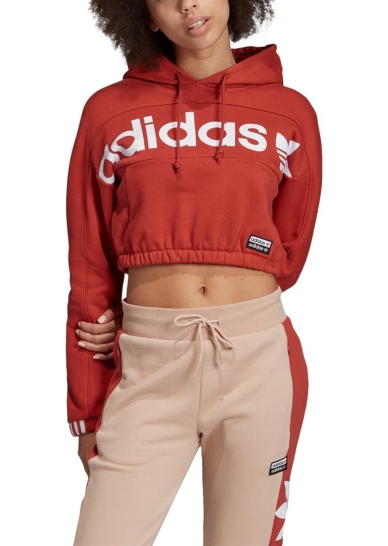 adidas Originals Women's Cotton Logo Cropped Hoodie