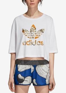 adidas Originals Cotton Printed-Logo Cropped T-Shirt