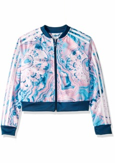 adidas Originals Girls' Big Marble Crop Short Sleeve Tee