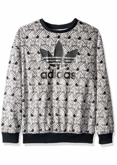 adidas Originals Girls' Big Zebra Print Crew  XL